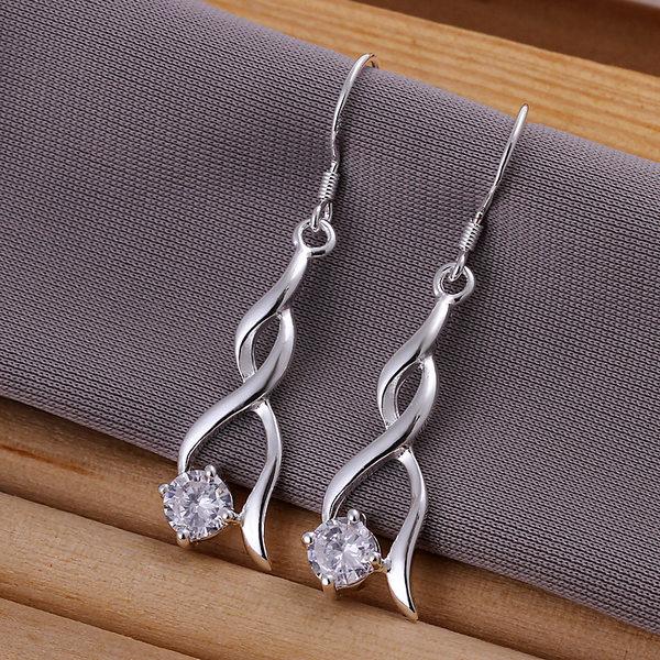 Free shipping twisted line zircon earring Fashion fashion sweet 925 tremella earring stone earrings e070(China (Mainland))