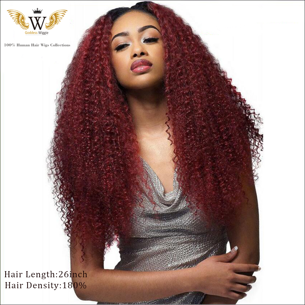 180 Density Red Lace Front Human Hair curly Wigs Glueless Full Lace Human Hair Wigs Brazilian Virgin Hair Kinky Curly Wig