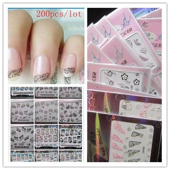Hot Sell products on Promotion 44 different french designs color, Nail Sticker,3D Sticker,200pcs/lot, free shipping #NS044