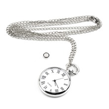 Newest 1pcs Quartz Round Pocket Watch Dial Vintage Necklace Silver Chain Pendant Antique Style 2016 Personality Pretty Gift(China (Mainland))