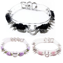 Sexy Harajuku 100 Handmade Clear Double Spiked Flower Stud Rivets Collar Punk Choker Necklace Fashion jewelry