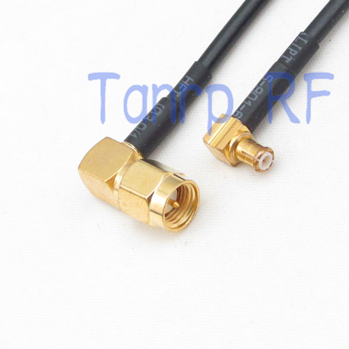50CM Pigtail coaxial jumper cable RG174 extension cord 20in SMA male plug to MCX male plug both right angle RF connector adapter(China (Mainland))