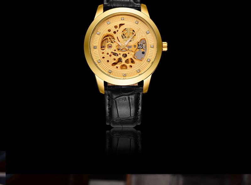 2016 Бренд BOSCK Эксклюзивная Модная Повседневная Нержавеющей Стали Мужчины Механические Часы Скелет Руки Кожаный Часы Мужчины Платье Наручные Часы