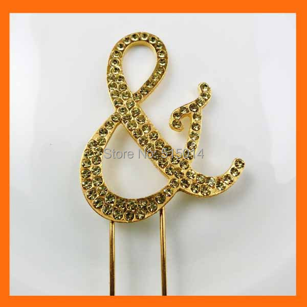 Free Shipping ! 50pcs/lot letter & gold rhinestone cake topper for wedding(China (Mainland))