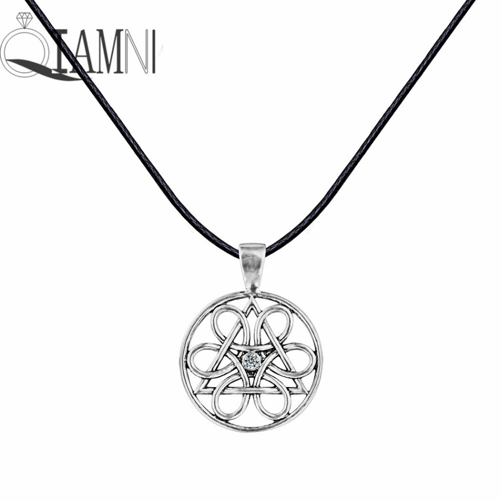 Antique Silver Unique Symbol Wheel of Life Round Flower Triangle Slavic Pendant Necklace Christmas Jewelry Gift for Men Women