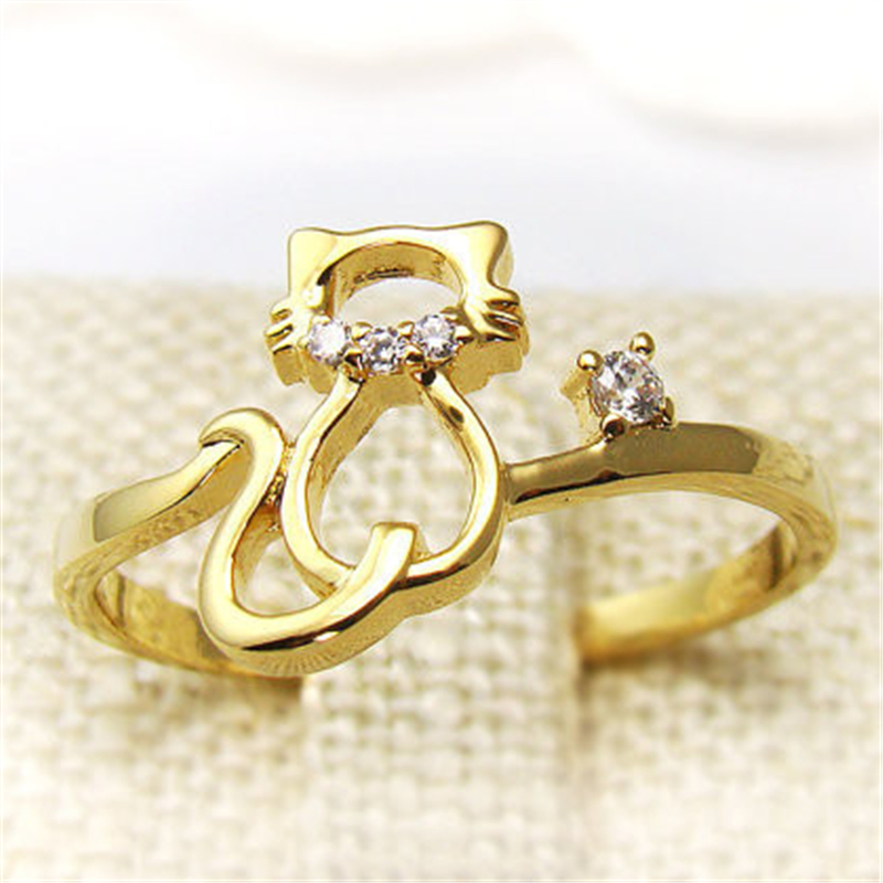 Fashion cat ring, hollow out line cat crystal rings for women wholesale and mixed color(China (Mainland))