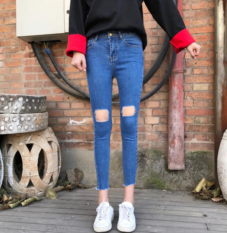 Chun xia han edition of tall waist new super elastic comfortable hole hand burrs feet pants jeans are female(China (Mainland))