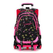 Trolley School Bag for Girls 2 Wheels - 3Wheels Backpack Children Travel Bag Rolling Luggage Schoolbag Kids Mochilas Bagpack(China (Mainland))