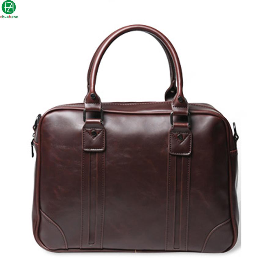 carzy horse men leather briefcase vintage business men messenger bags shoulder Laptop bag solid Metal zipper brand men handbag(China (Mainland))