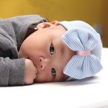 1 PC Hospital Newborn Hat Lovely Baby Girl Cotton Beanie With Bow Infant Soft Knit Striped Cap Baby Toddler Hat Accessories Cute(China (Mainland))