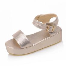 Summer Casual Women Sandals Ankle Strap Platform Shoes Woman Wedges Med Heels Buckle Sandals Black+Gold+Silver Popular Shoes