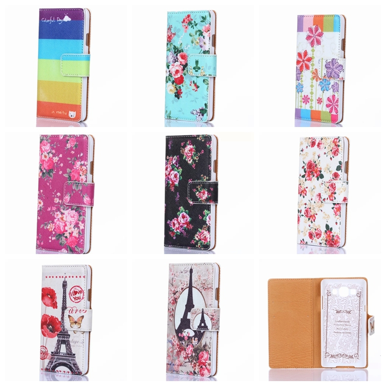 1PCS 8Design Colorful Printed With Card Slots Flip Stand Smat Phone PU Leather Cases For Samsung Galaxy A5 A500(China (Mainland))