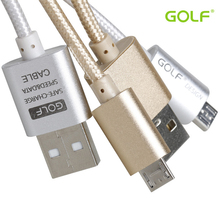 Original 0.25M/1M/1.5M/2M/3M Golf Metal Braided Data Charger Micro USB Cable 2.1A Output for iPhone 6sPlus iPadmini Samsung Sony(China (Mainland))