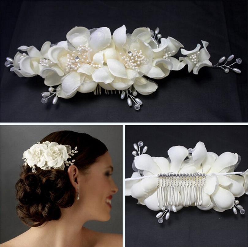 Elegant Girl Soft Pearl Short Bride Barrettes Hair Accessory Fabric Flower Wedding Hair Clip Hair Comb Tiara Ivory(China (Mainland))