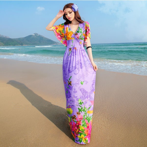 Plus Size XXXL 4XL 5XL 6XL Sexy Summer Style Women V-Neck Print Floral Bohemian Beach Dress Long Maxi Chiffon Dresses Big Size