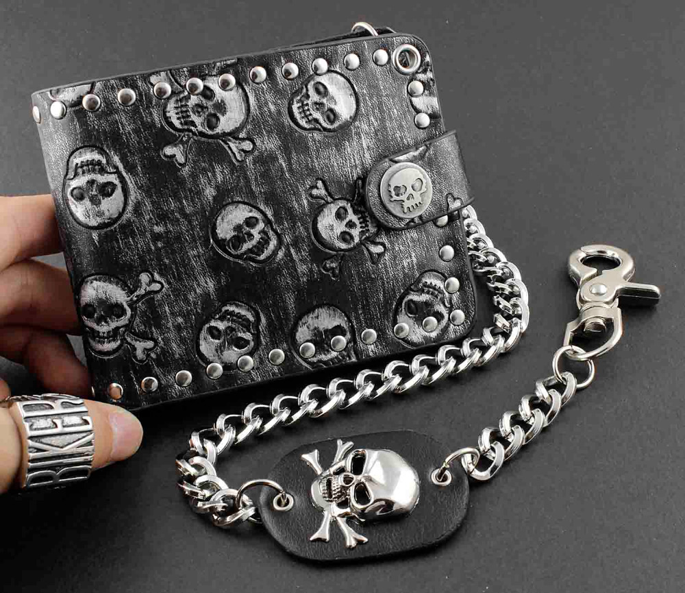 Fashion Rock Punk Metal Skull Money Black Men's Leather Wallet With A Chain(China (Mainland))