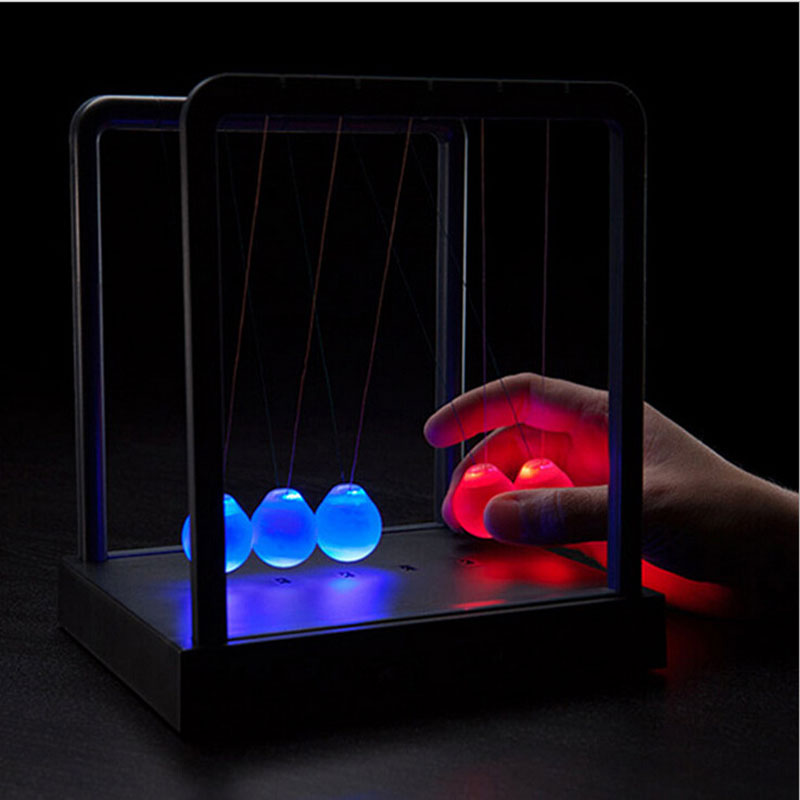 Light Up Newtons Cradle Steel Balance Ball Kinetic Energy Multi Color Home Office Science toy(China (Mainland))