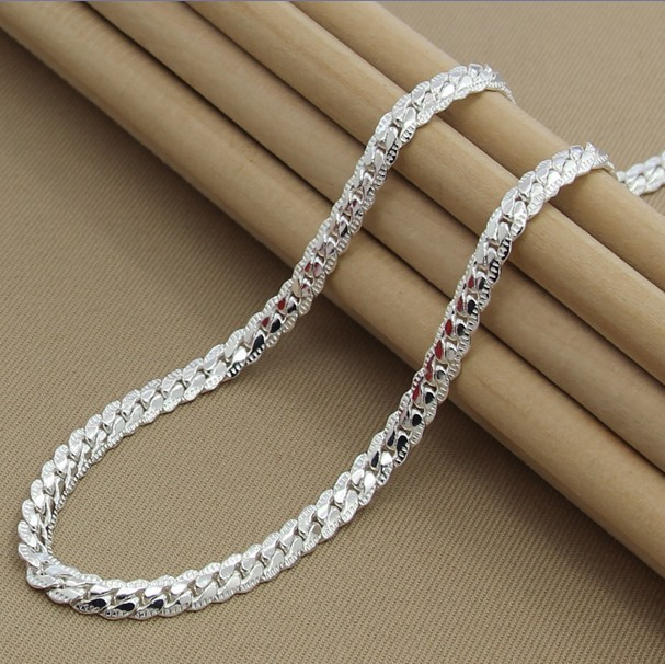 Hot 20 inch Unisex top quality 925 solid sterling silver Female women male men's chain Link necklace Pendant party gift KX130(China (Mainland))