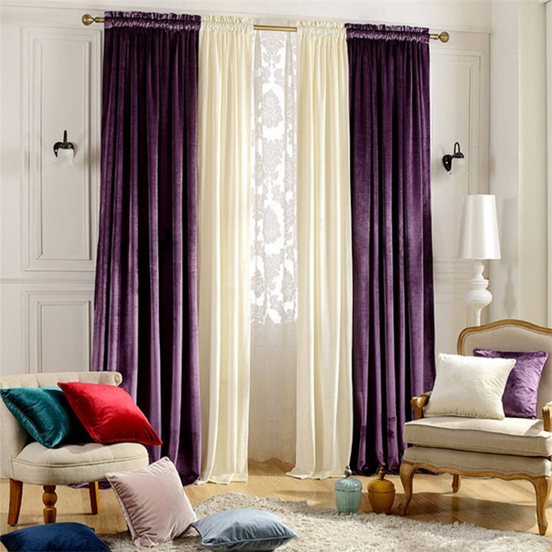 Home window decoration wedding purple velvet curtains blackout bedroom living room dining - Curtains in bedroom ...