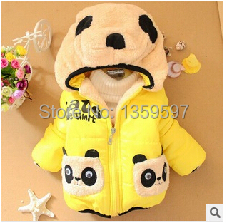SY-057 Free Shipping Children Panda Cartoon Outerwear Baby Winter Thickening Hooded Boys And Girls Cotton-Padded Jacket Retail(China (Mainland))