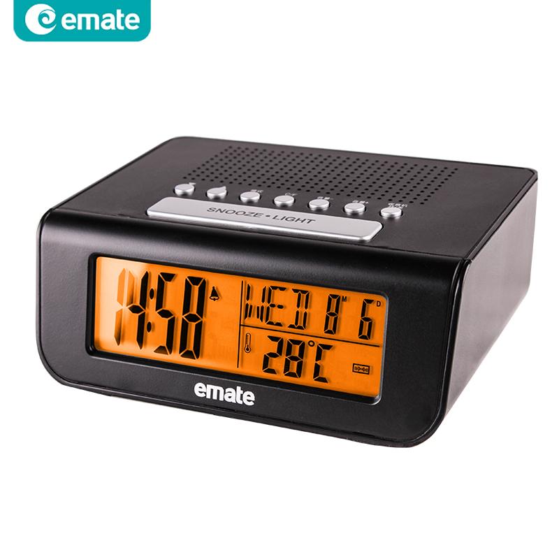 emate electronic fm radio clock bedside clock led digital alarm clock night light clock on sale. Black Bedroom Furniture Sets. Home Design Ideas