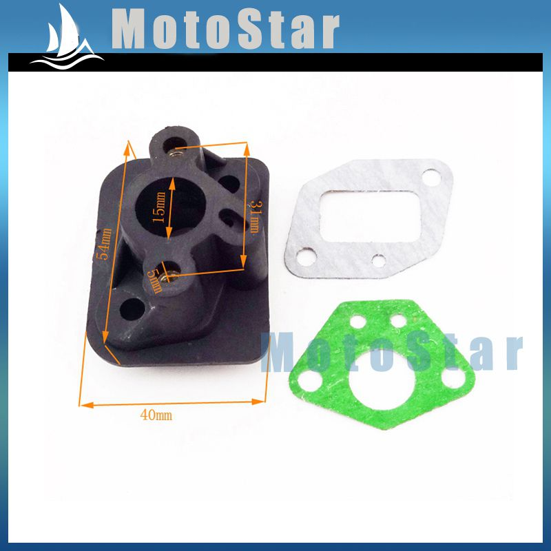 Plastic Intake Inlet Manifold Gaskets For 2 Stroke 33cc 43cc 49cc Engine Goped Scooter Cat Eye Pocket Bike Kids Moto(China (Mainland))