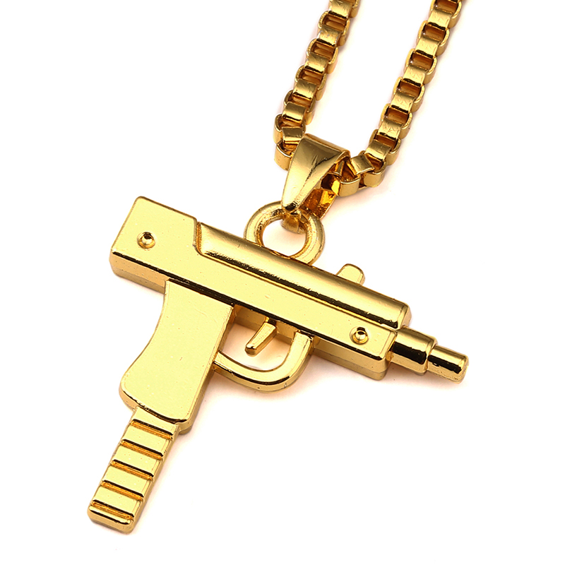 Gold Chain Pistol Pendant Unisex Gold Plated Submachine Gun Pendant Chain Maxi Necklace For Men/Women Hip Hop Jewelry Gifts NYUK(China (Mainland))