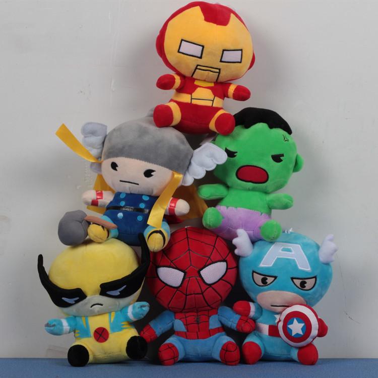 Superhero Plush Peluche Fluffy Toys 3pcs 18cm Marvel Iron Man Hulk Spiderman Captain America The Anime Mini Toys Kids Gifts 1190(China (Mainland))