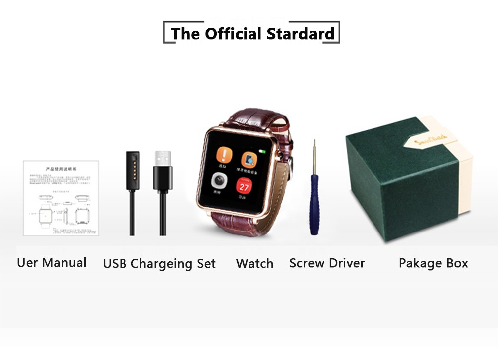 SIM Smart Watch Bluetooth GSM Wristwatch Phone with TF Card Slot Sync Message Phone Call for Samsung LG Sony Android Smartphones