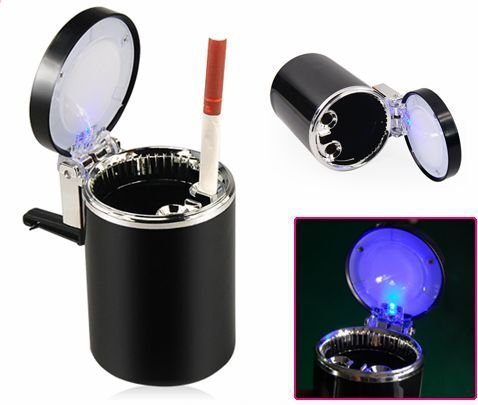 New Car Accessories LED Ashtray Portable Car Auto/Home/Office Smokeless Ashtray Cigarette Cylinder Ashtray Holder Cup(China (Mainland))