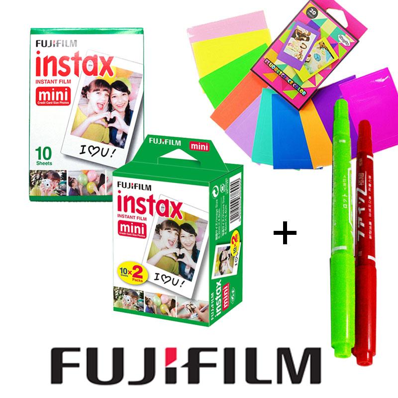 Fujifilm Instax Mini White Film 30 PCS + Free Gift 2 Drawing Pens & Stickers For Fujifilm Instant Camera Mini 7s 8 25 25i 50s 90(Hong Kong)