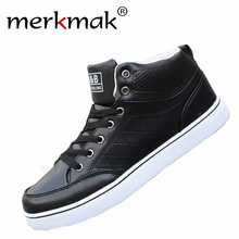 Merkmak New Autumn Men Shoes Front Lace-Up Casual Ankle Boots Autumn Sport Brand Men Traines Shoes High Top Flat Shoes Discount(China (Mainland))