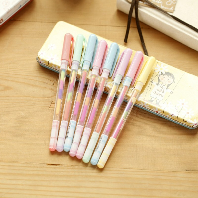 8pcs/lot Cute colored gel pens 0.8mm 6 colors roll pen for kids Kawaii stationery Escolar office material school supplies<br><br>Aliexpress