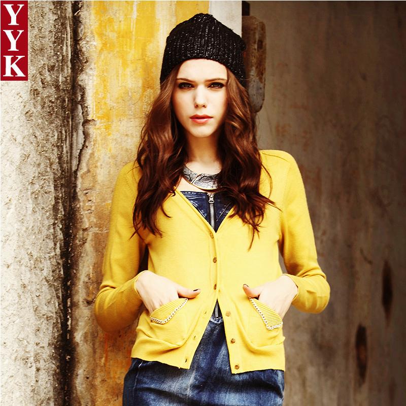 Yyk2013 autumn and winter fashion metal chain small pocket cardigan slim long-sleeve roll-up hem V-neck women's outerwear(China (Mainland))