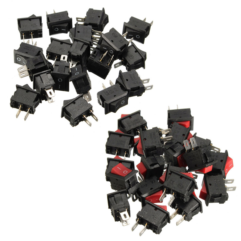 20pcs 250V 3A Mini Boat Rocker Switch SPST ON-OFF 2Pin Black Plastic Button Applied to Controlling Household Appliance Favorable(China (Mainland))