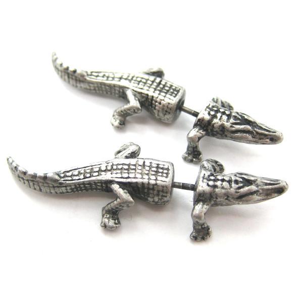 1pcs/lot New Arrival Fake Gauge Earrings Alligator Crocodile Animal Stud Plug Earrings for Women S-087(China (Mainland))