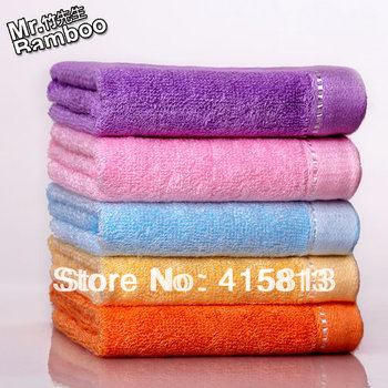 Free shipping Bamboo fibre towel female beauty small towel large facecloth child baby bib bamboo towels 34X34CM 45G 5PCS/LOT