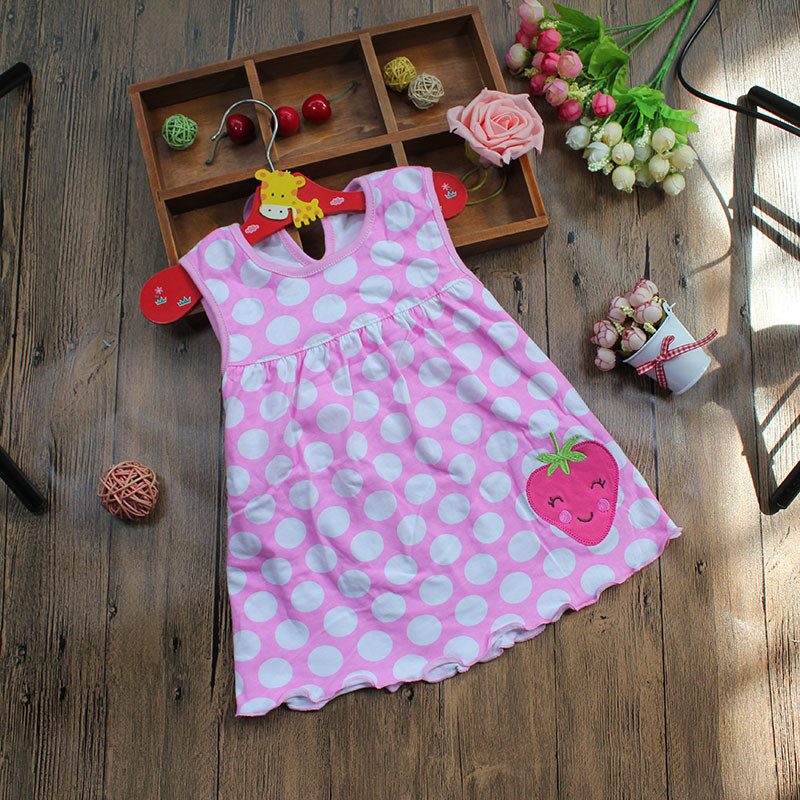 Monkids Summer Baby Girl Sleeveless Dress Princess Dot Newborn Striped Dresses Baby Girls Clothes with Animal Floral Cutton