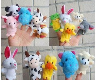 Cute Lovely Mini animal finger puppet story tools toys 10 pieces/lot(China (Mainland))