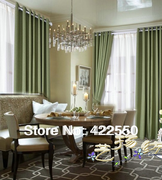 Buy cotton solid color plain green for M s living room curtains