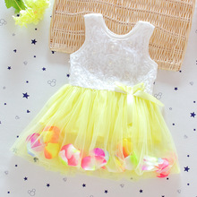 Summer Baby Girl One Piece Dress flower Dressing lace ball gown sleeveless Dresse Girl Petticoat Robe Fille Enfant BD003