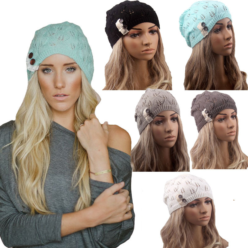 Retail Fashion winter hat Knitted Beanie Girls Crochet Hat Boho Cap Lace Trim Beanie Beret Skull Cap Ski Sport Slouchy Hat(China (Mainland))