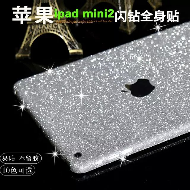 Luxury Rainbow Full Body Sticker For Ipad Mini 1 2 3 Shiny Glitter Cover Bling Diamond Colorful Front Back Side Skin Case