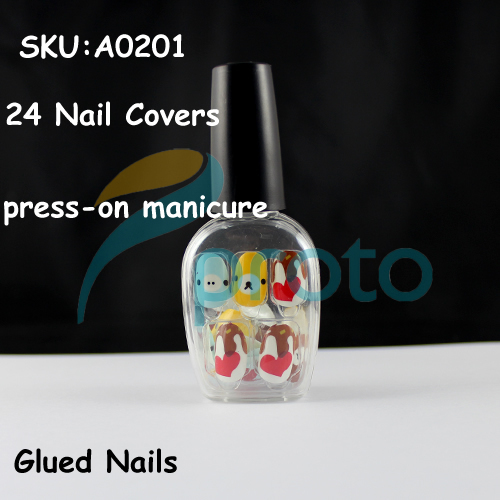 NEW Fashion 24 Nails Full Covers Cartoon Press-On Manicure Fast&Easy Salon Manicure Nail Art Dropshipping [Retail] SKU:A0201