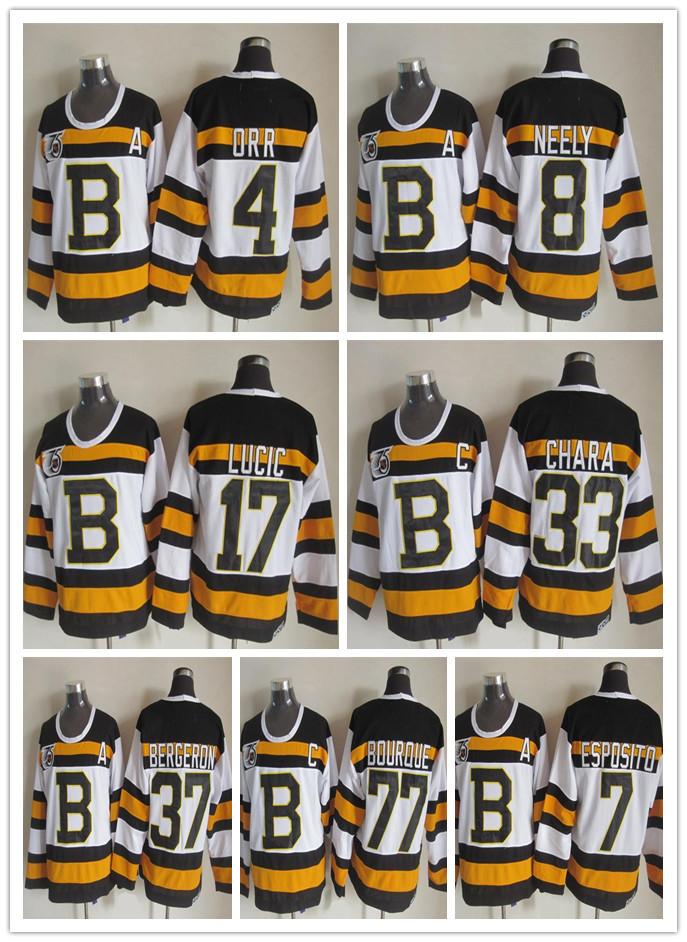 8 Cam Neely 37 Patrice Bergeron 33 Zdeno Chara 7 Phil Esposito 77 Ray Bourque 17 Milan Lucic 75e chandail de Hockey des Bruins de Boston(China (Mainland))