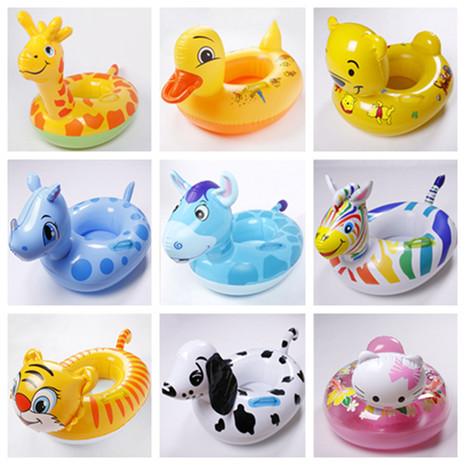 Kids Swimming Rings 2015 Kids Cartoon Animal Inflatable Water Toys Child Swim Float Boat Seat Baby Swimming Ring 10 Cute Styles(China (Mainland))