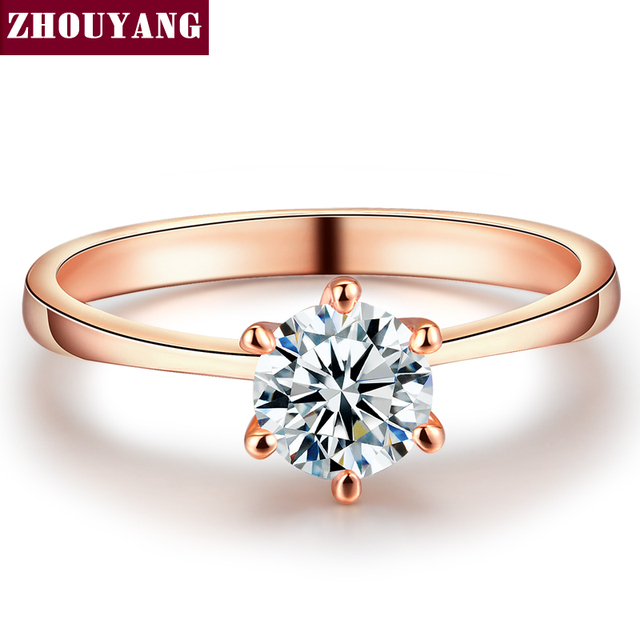ZYR014  Real Gold Plated Six Claw CZ Round Cut 1 Carat 6mm Wedding Ring Austrian Crystals  Wholesale For Women