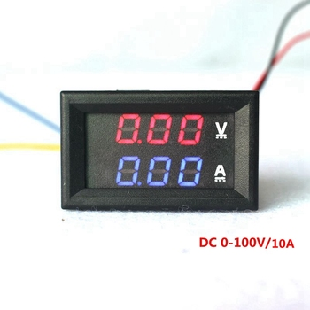 "0.28"" Red Blue LED DC 0-100V 10A Dual Display Meter Digital Voltmeter Ammeter Panel Amp Volt Gauge"