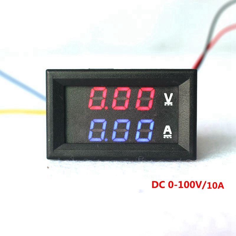 "Mini Digital Voltmeter Ammeter DC 0-100V 10A Panel Amp Volt Gauge Tester 0.28"" Red Blue LED Dual Display Meter Free Shipping(China (Mainland))"