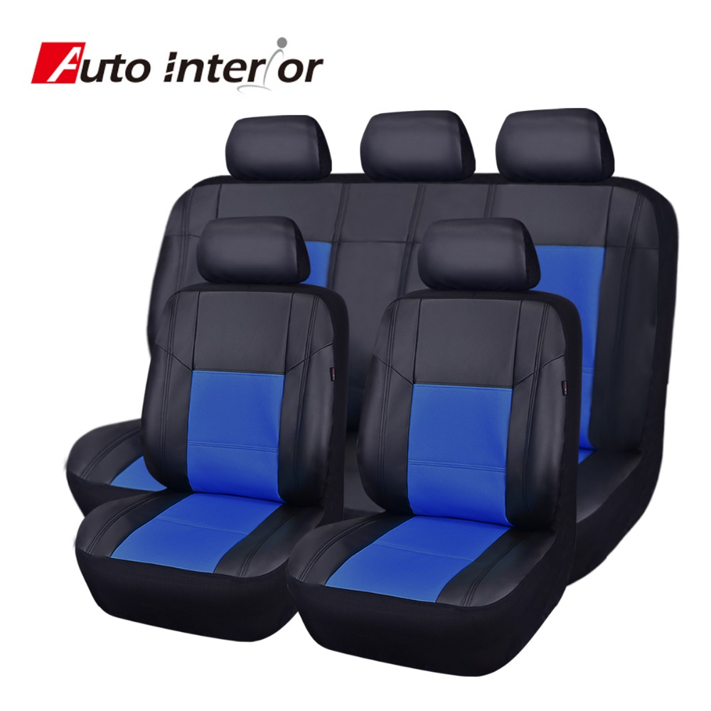 Factory Directly Sale Punching Full Set PU Leather Car Seat Cover Red Blue Beige Auto Chair Covers Car Interior Seat Protector(China (Mainland))